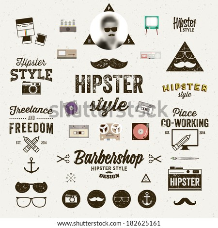Hipster style infographics elements and icons set for retro design