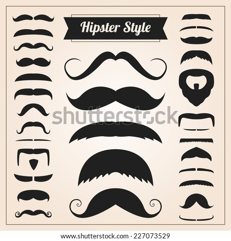 hipster style mustache vector