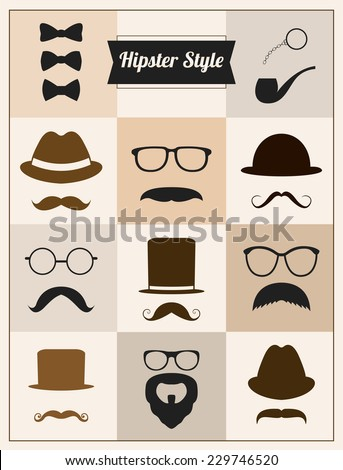 hipster style mustaches hat