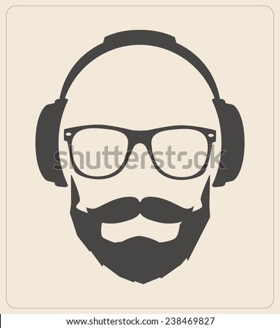 Hipster style set, glasses, mustaches, headphones abstract ...