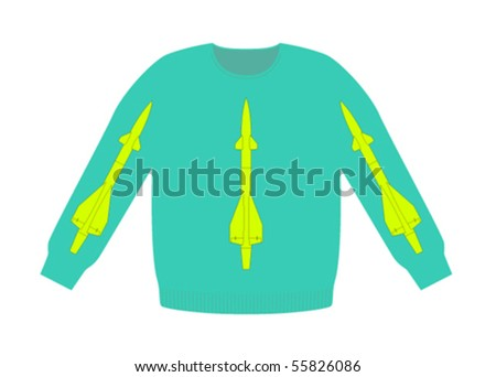 hipster sweater in bright colours with rockets