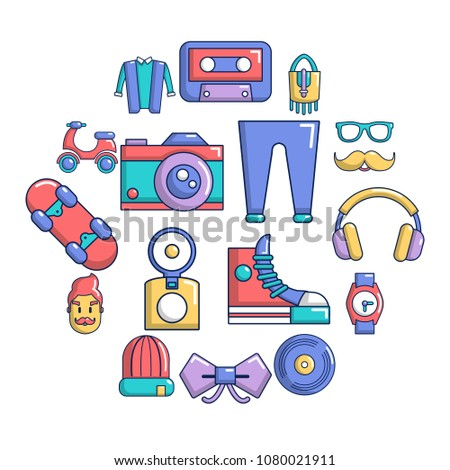 Hipster symbols icons set. Cartoon illustration of 16 hipster symbols vector icons for web