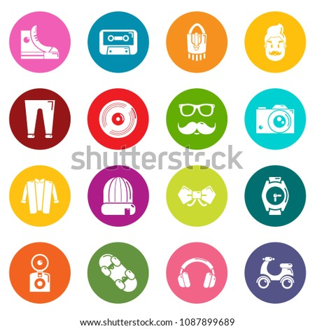 Hipster symbols icons set vector colorful circles isolated on white background
