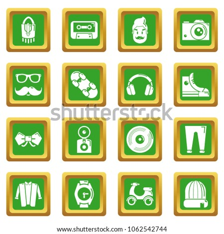 Hipster symbols icons set vector green square isolated on white background