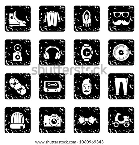 Hipster symbols icons set vector grunge isolated on white background