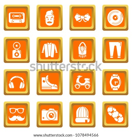Hipster symbols icons set vector orange square isolated on white background