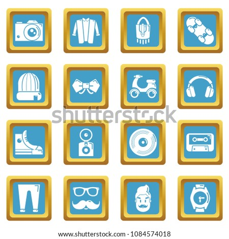 Hipster symbols icons set vector sapphirine square isolated on white background