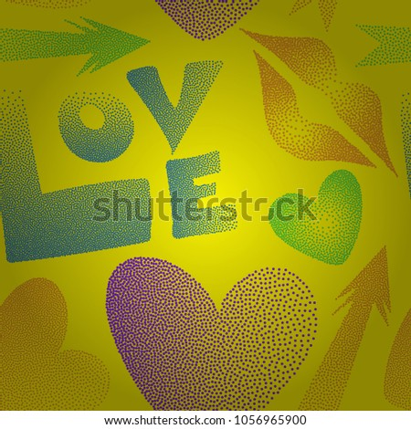 Hipster symbols of arrow, hearts, kissing lips, love text. Good for cards, posters, wrapping paper. Hand drawn vector seamless pattern with XOXO in yellow, blue and violet colors.