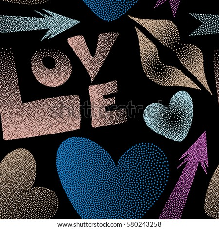 Hipster symbols of arrow, hearts, kissing lips, love text on a black. Good for cards, posters, wrapping paper. Hand drawn vector seamless pattern with XOXO in pink and beige colors.