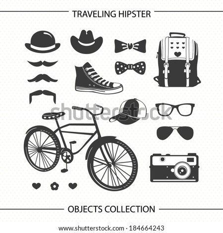 Hipster traveling objects collection