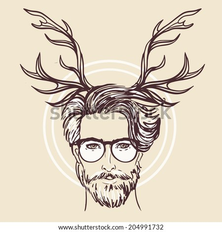 hipster. vector of a man face...