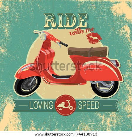 "Hipster vintage print with red retro bike. ""Ride with me"" quote"