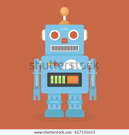 Hipster vintage robot. Retro robot. Vintage robot. Robot With Heart.