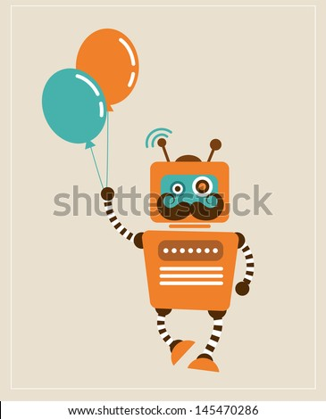hipster vintage robot with