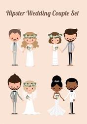 Hipster wedding couple set, Illustration bride & groom cartoon