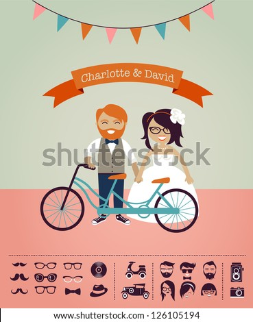 Hipster wedding - design your own invitation card, infographic