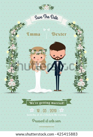 Hipster wedding invitation card bride & groom cartoon beach theme on polka dot background #425415883