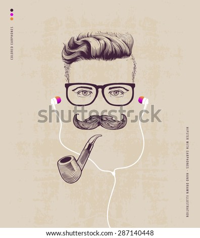 hipster with smoking pipe and...