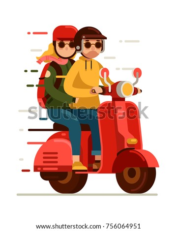 Hipster young couple riding red scooter motor bike in flat style vector illustration