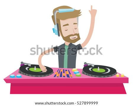 Hipster young DJ with the beard mixing music on turntables. DJ playing and mixing music on deck. Caucasian DJ in headphones at the party. Vector flat design illustration isolated on white background.