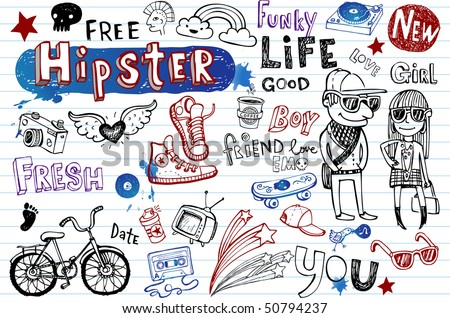 Hipsters doodle set