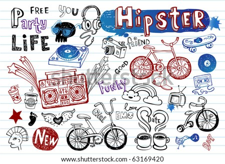 Hipsters doodle set part 2