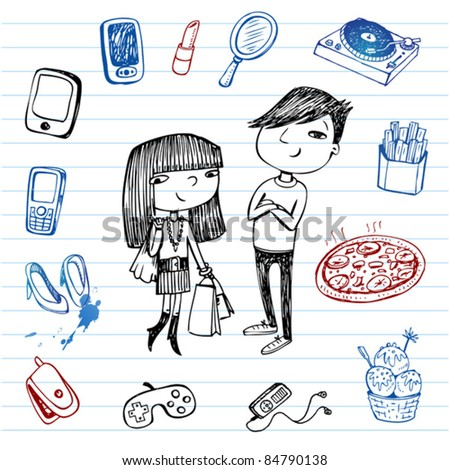 Hipsters doodle set. Set of hand-drawn images of youth culture. - stock vector