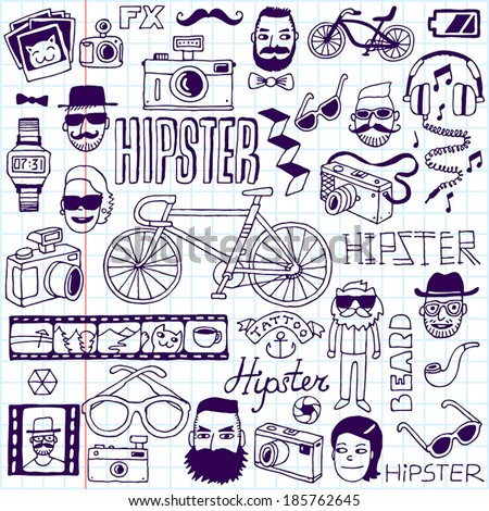Hipsters doodles set School notebook Vector illustration