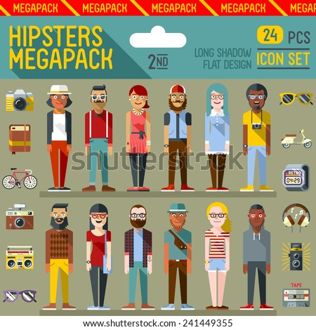 Hipsters megapack. Flat design. Long shadow. Vector illustrations. Icon set 2nd.