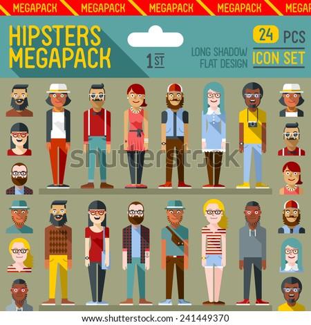 hipsters megapack flat design