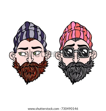 Hipsters. Two young men. Glasses. Beard. Isolated vector objects on white background.