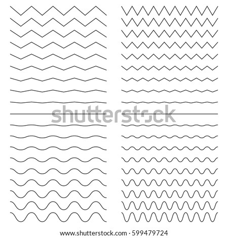 Hiqh quality set of zigzags/curves line. Vector illustration isolated on a white background for your images. Outline wavy or zigzags.  Foto d'archivio ©