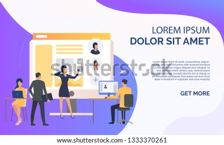 Hiring agency, applicants and job interview and sample text. Personnel, hr, employment concept, presentation slide template. Can be used for topics like business, recruitment, human resources