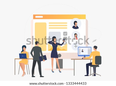 Hiring agency, applicants and job interview. Personnel, hr, employment concept, presentation slide template. Can be used for topics like business, recruitment, human resources