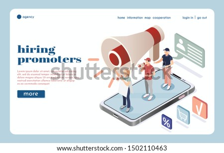 Hiring agency isometric landing page with big  loudspeaker icon and group of street promoters speaking into megaphones vector illustration
