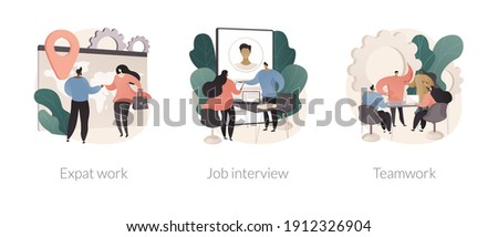 Hiring employees abstract concept vector illustration set. Expat work, job interview, teamwork power, migrant workers, choosing a candidate, prepare for interview, recruiter abstract metaphor. Foto stock ©