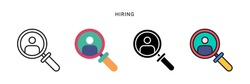 hiring icon vector with four different style. isolated on white background.