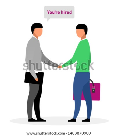 Hiring new worker flat vector illustration. Boss, chief shaking hand with successful applicant cartoon characters. Informing jobseeker about positive employment decision. HR expert greeting newbie