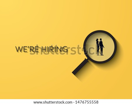 Hiring or recruitment website banner vector template with businessman and businesswoman in magnifying glass. Job vacancy advertisement. Eps10 illustration.