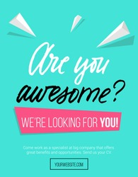 Hiring poster design concept with pink and blue colors and lettering inscription