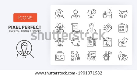 Hiring process, human resources concepts. Thin line icon set. Outline symbol collection. Editable vector stroke. 256x256 Pixel Perfect scalable to 128px, 64px...