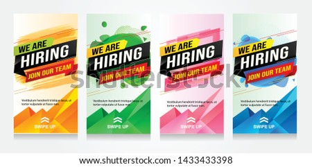 hiring recruitment Join now design set color banner poster. We are hiring lettering. Vector illustration typographic. Open vacancy design template modern concept Instagram story Insta stories Whatsapp