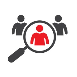 Hiring recruitment symbol. Magnifier and employees pictogram isolated on white background. Vector illustration concept