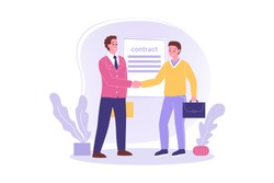 Hiring, signing contract, meeting, business concept. Young happy employee worker cartoon character signs agreement shaking hand to businessman leader boss. Job employment congratulation illustration.