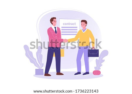 Hiring, signing contract, meeting, business concept. Young happy employee worker cartoon character signs agreement shaking hand to businessman leader boss. Job employment congratulation illustration. Stock foto ©