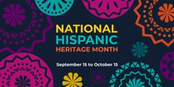 Hispanic heritage month. Vector web banner, poster, card for social media and networks. Greeting with national Hispanic heritage month text, Papel Picado pattern, perforated paper on black background