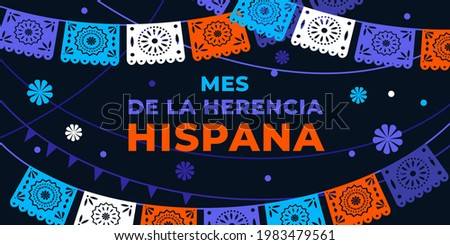 Hispanic heritage month. Vector web banner, poster, card for social media, networks. Greeting in Spanish Mes de la herencia hispana text, Papel Picado pattern, perforated paper on black background.