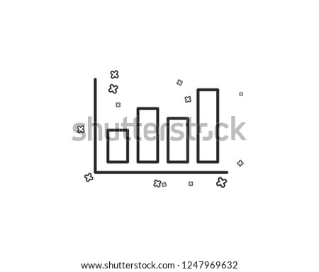 Histogram Column chart line icon. Financial graph sign. Stock exchange symbol. Business investment. Geometric shapes. Random cross elements. Linear Report diagram icon design. Vector
