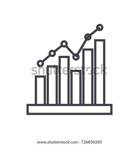 histogram vector line icon, sign, illustration on background, editable strokes