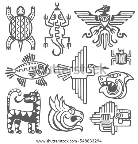 Historic aztec, inca vector symbols, mayan temple pattern, native american culture signs.